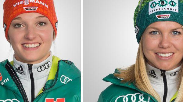 SkiSpringerin Katharina Althaus (l.) und Langläuferin Sandra Ringwald fühlen sich fit für die Weltcups. © DSV