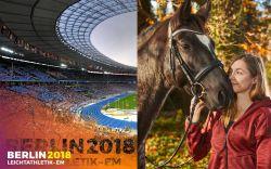 Deutschlands schnellste Frau: Gina Lückenkemper, hier mit ihrem Pferd Piccasso, holt bei der EM Silber. © Berlin 2018/Camera4, Michael Handelmann