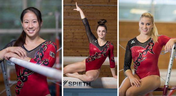 Die besten Turnerinnen des Vorjahres: Kim Bui (v.l.), Pauline Schäfer und Elisabeth Seitz. © DTB/picutre-alliance