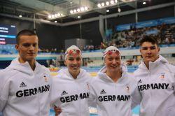 Knapp an einer Medaille vorbei: die deutsche Schwimmer Mixed-Staffel. © DOSB