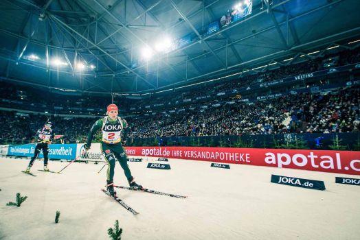 Unter tosendem Jubel werden die Biathleten in der Arena auf Schalke jedes Jahr begrüßt. © Biathlon auf Schalke