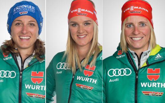 Vanessa Hinz (von l.), Denise Herrmann und Franziska Hildebrand starten in der Mixed-Staffel. © DSV