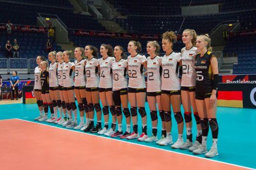 Auf die deutschen Volleyballdamen wartet am Sonntag Slowenien im EM-Achtelfinale. © CEV