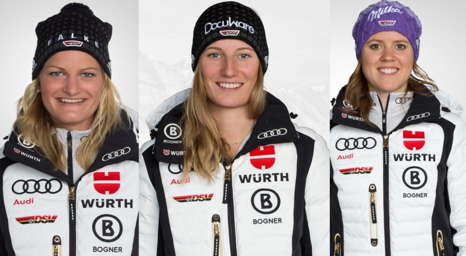 Marlene Schmotz (v.l.), Lena Dürr und Viktoria Rebensburg starten in den Weltcup. © DSV