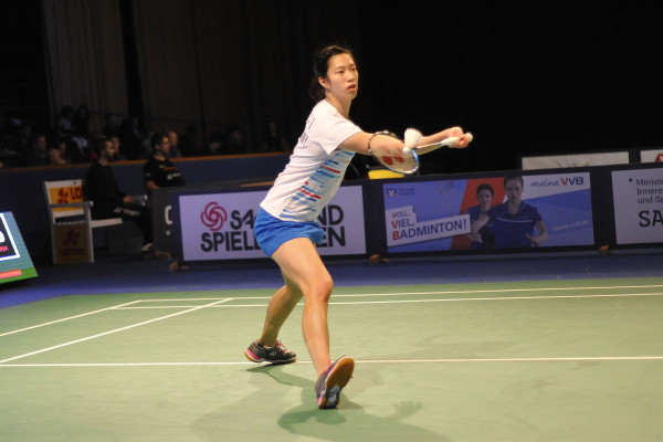 Yvonne Li in ihrem Viertelfinalspiel bei den SaarLorLux Badminton Open 2019. © Claudia Pauli