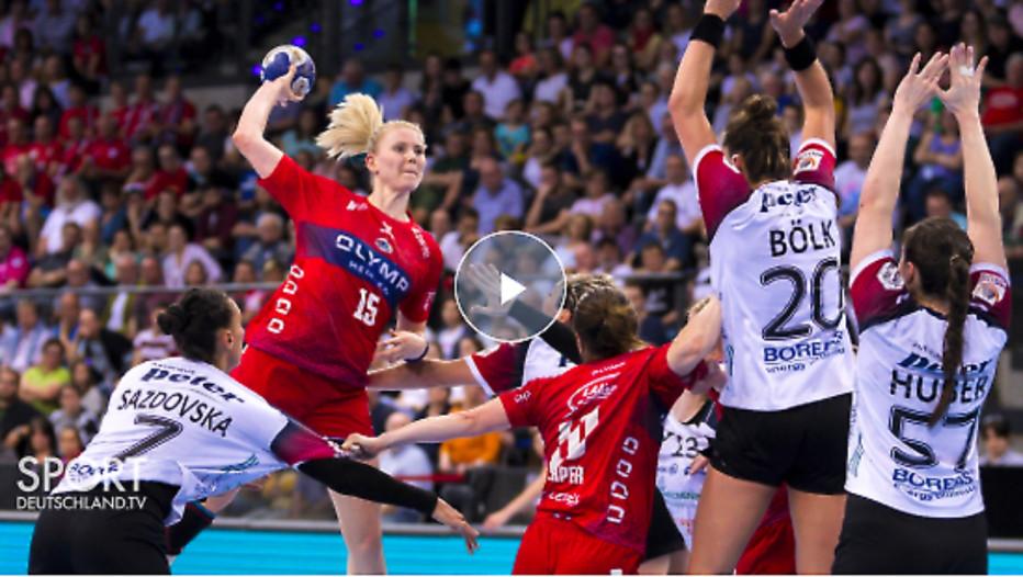 Die Partie zwischen der SG BBM Bietigheim und dem Thüringer HC im Livestream. © Screenshot Sportdeutschland.TV