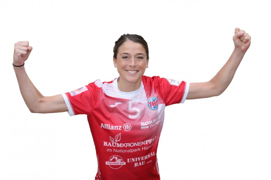 Alexandra Mazzucco vom Thüringer HC jubelt über den internationalen Erfolg. © THC