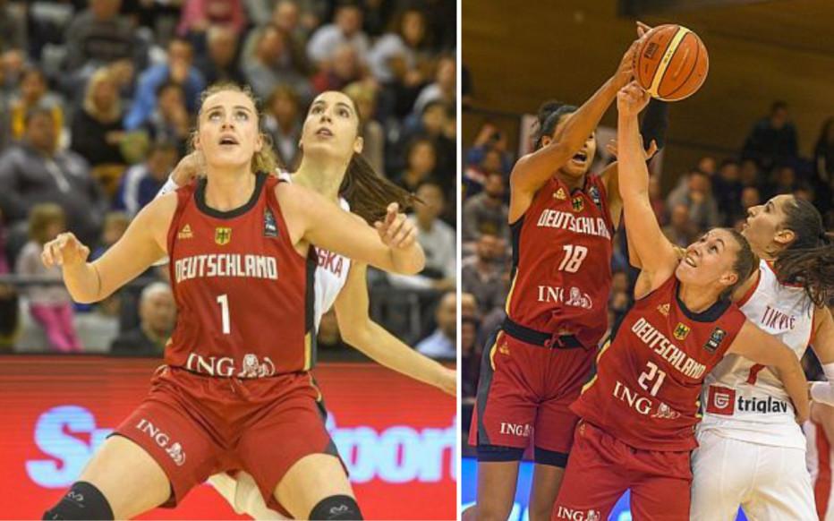 Marie Gülich (l.) und Svenja Brunckhorst im Spiel gegen Kroatien. © DBB