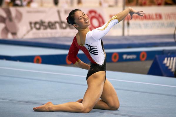Kim Bui holte für das Turn Team Deutschland am Boden eine Medaille. © Heiner Stephan/www.stephan-lausitz.de
