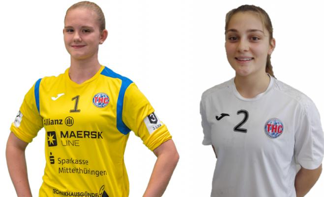 Laura Kuske (Torhüterin) und Arwen Rühl (Rückraumspielerin) beim Thüringer HC. © Thüringer HC