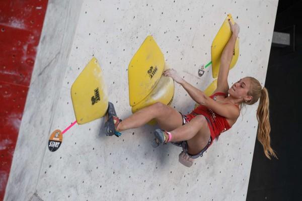 Hannah Meul ist Deutsche Meisterin im Bouldern 2020. © Marco Kost