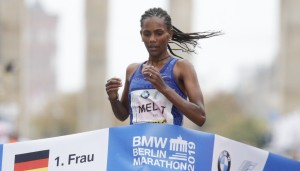 Melat Kejeta beim Berlin Marathon 2019. © SCC EVENTS / Norbert Wilhelmi, bei Verwendung zu vermerken.