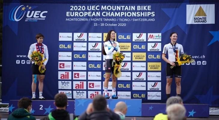 Marion Fromberger gewinnt Bronze bei der Mountainbike-EM. © BDR