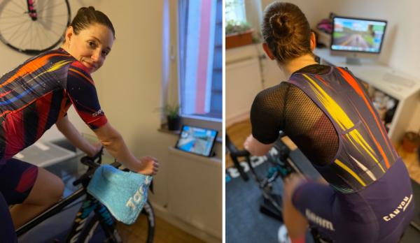 Tanja Erath trainiert zuhause im Radzimmer für die eSports WM. © privat