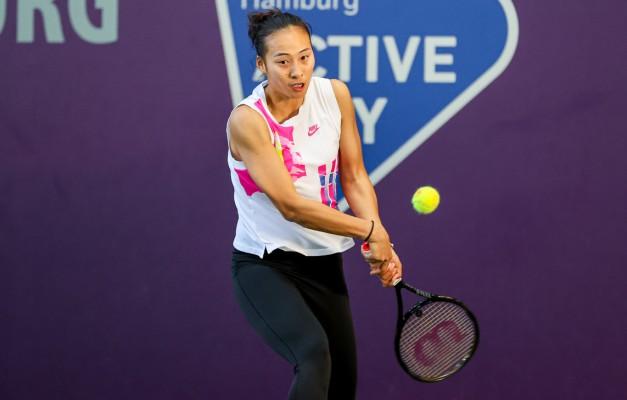 Siegerin Qinwen Zheng beim ITF-Damenturnier in Hamburg. © DTB/Claudio Gärtner