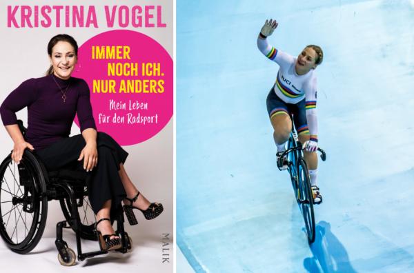 Kristina Vogel ein Jahr vor ihrem Unfall (r.) und ihre Autobiografie. © MALIK/Flowizm CC BY 2.0