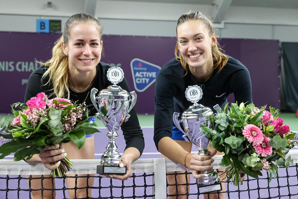 Doppelsiegerinnen des Tennis Future Hamburg 2021_Anna BONDAR (HUN_Tereza MIHALIKOVA (SVK)_(c) DTB_Claudio Gärtner.JPG