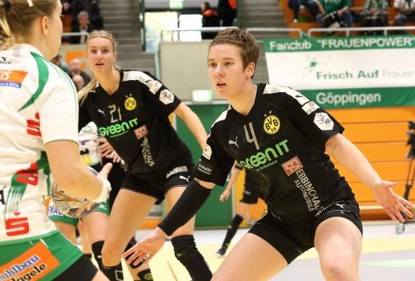 Dortmunds Kapitänin Alina Grijseels (r.) im Spiel gegen Frisch Auf Göppingen. © BVB Handball