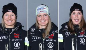 Lena Dürr (v.l.), Andrea Filser und Kira Weidle starten bei der Ski WM 2021. © DSV