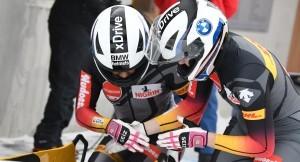 Laura Nolte und Anschieberin Deborah Levi beim Weltcup in St. Moritz. © Viesturs