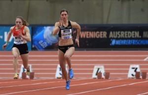Amelie Lederer gewinnt das 60-Meter-Finale bei der DM 2021. © Theo Kiefner