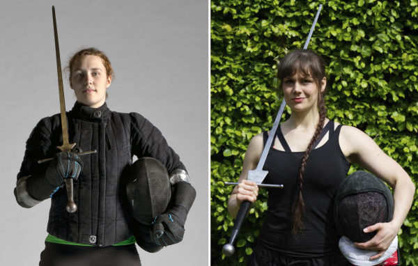 Carla Huverman und Amelie Eilken machen historischen Schwertkampf. © Ewoud Broeksma/Elena Rehm