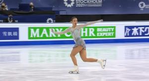 Nicole Schott bei der Eiskunstlauf WM 2021. © Screenshot Sportschau