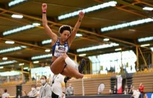 Malaika Mihambo bei den Deutschen Hallenmeisterschaften 2021. © Benjamin Heller