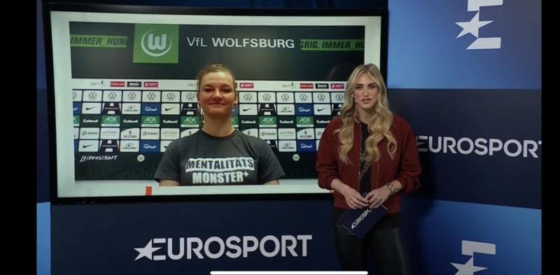 Alexandra Popp spricht bei Eurosport exklusiv über den Eklat um Heiko Vogel. © Screenshot Eurosport