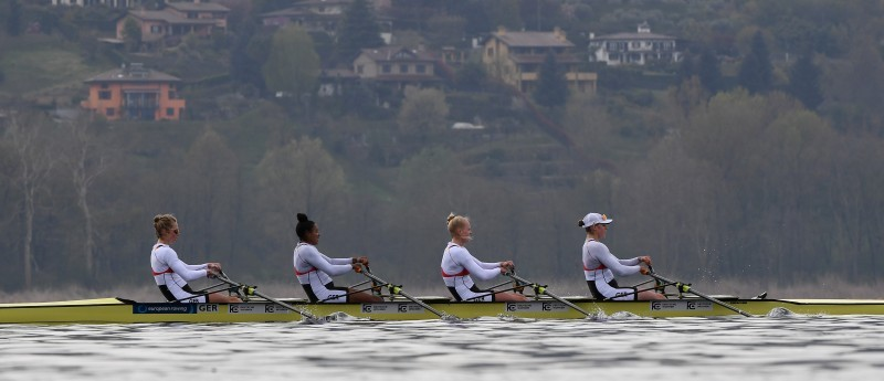 Franziska Kampmann, Frieda Hämmerling, Carlotta Nwajide und Daniela Schultze rudern zu Bronze. © DRV/Seyb