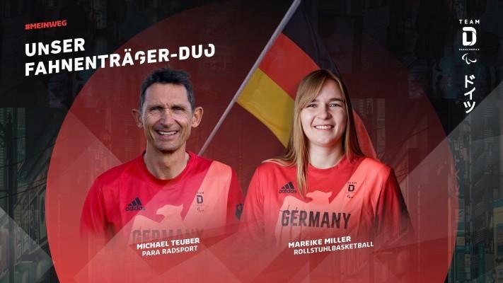 Para Radsportler Michael Teuber und Rollstuhlbasketballerin Mareike Miller tragen die deutsche Fahne. © DBS